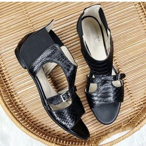 AGL Crocodile Strap Pull On Patent Leather Sandal